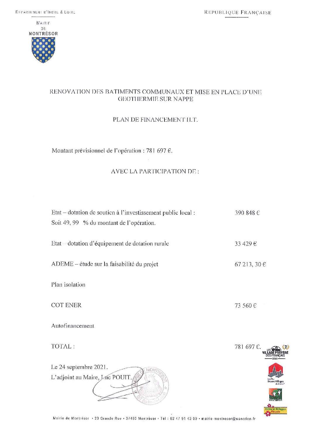 Plan de financement du projet de géothermie